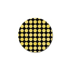 Circles1 Black Marble & Yellow Watercolor (r) Golf Ball Marker by trendistuff