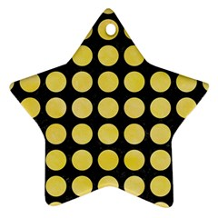 Circles1 Black Marble & Yellow Watercolor (r) Star Ornament (two Sides)