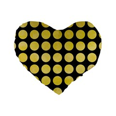 Circles1 Black Marble & Yellow Watercolor (r) Standard 16  Premium Heart Shape Cushions by trendistuff