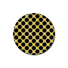 Circles2 Black Marble & Yellow Watercolor Rubber Round Coaster (4 Pack)  by trendistuff
