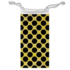 Circles2 Black Marble & Yellow Watercolor Jewelry Bag by trendistuff