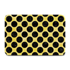 Circles2 Black Marble & Yellow Watercolor Plate Mats by trendistuff