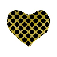 Circles2 Black Marble & Yellow Watercolor Standard 16  Premium Heart Shape Cushions by trendistuff