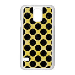 Circles2 Black Marble & Yellow Watercolor Samsung Galaxy S5 Case (white)