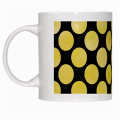 Circles2 Black Marble & Yellow Watercolor (r) White Mugs by trendistuff