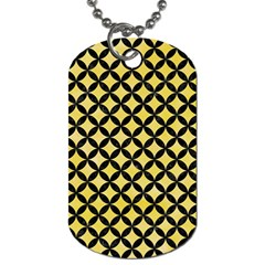 Circles3 Black Marble & Yellow Watercolor Dog Tag (one Side) by trendistuff