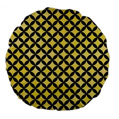 Circles3 Black Marble & Yellow Watercolor Large 18  Premium Round Cushions by trendistuff