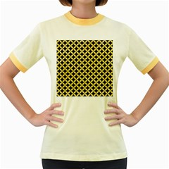 Circles3 Black Marble & Yellow Watercolor (r) Women s Fitted Ringer T Shirts