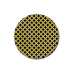 Circles3 Black Marble & Yellow Watercolor (r) Rubber Round Coaster (4 Pack)  by trendistuff