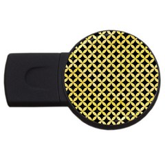 Circles3 Black Marble & Yellow Watercolor (r) Usb Flash Drive Round (4 Gb) by trendistuff