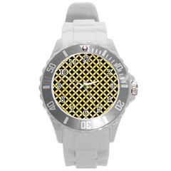Circles3 Black Marble & Yellow Watercolor (r) Round Plastic Sport Watch (l) by trendistuff