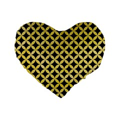 Circles3 Black Marble & Yellow Watercolor (r) Standard 16  Premium Heart Shape Cushions