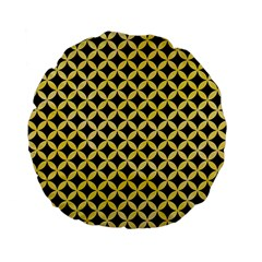 Circles3 Black Marble & Yellow Watercolor (r) Standard 15  Premium Flano Round Cushions by trendistuff