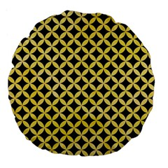 Circles3 Black Marble & Yellow Watercolor (r) Large 18  Premium Flano Round Cushions by trendistuff