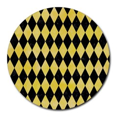 Diamond1 Black Marble & Yellow Watercolor Round Mousepads by trendistuff