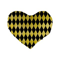 Diamond1 Black Marble & Yellow Watercolor Standard 16  Premium Heart Shape Cushions by trendistuff