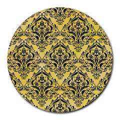 Damask1 Black Marble & Yellow Watercolor Round Mousepads by trendistuff