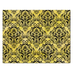 Damask1 Black Marble & Yellow Watercolor Rectangular Jigsaw Puzzl by trendistuff