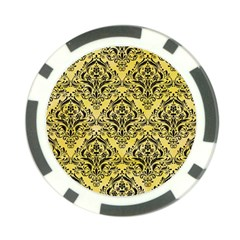 Damask1 Black Marble & Yellow Watercolor Poker Chip Card Guard (10 Pack) by trendistuff