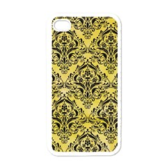 Damask1 Black Marble & Yellow Watercolor Apple Iphone 4 Case (white) by trendistuff