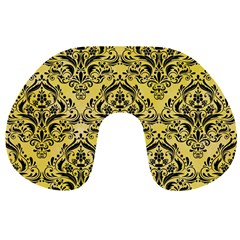Damask1 Black Marble & Yellow Watercolor Travel Neck Pillows by trendistuff
