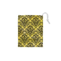 Damask1 Black Marble & Yellow Watercolor Drawstring Pouches (xs)  by trendistuff
