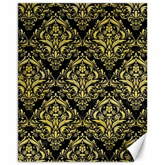 Damask1 Black Marble & Yellow Watercolor (r) Canvas 11  X 14   by trendistuff
