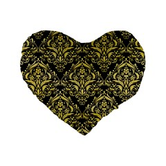 Damask1 Black Marble & Yellow Watercolor (r) Standard 16  Premium Heart Shape Cushions by trendistuff