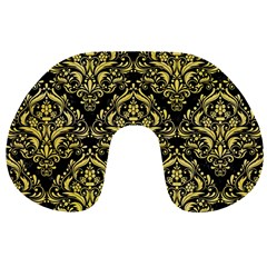 Damask1 Black Marble & Yellow Watercolor (r) Travel Neck Pillows by trendistuff