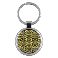 Damask2 Black Marble & Yellow Watercolor Key Chains (round)  by trendistuff