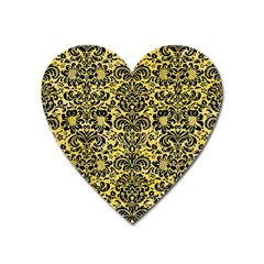 Damask2 Black Marble & Yellow Watercolor Heart Magnet by trendistuff