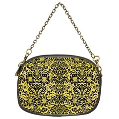 Damask2 Black Marble & Yellow Watercolor Chain Purses (one Side)  by trendistuff