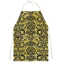 Damask2 Black Marble & Yellow Watercolor Full Print Aprons by trendistuff