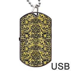 Damask2 Black Marble & Yellow Watercolor Dog Tag Usb Flash (one Side) by trendistuff