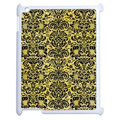 Damask2 Black Marble & Yellow Watercolor Apple Ipad 2 Case (white) by trendistuff