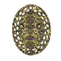Damask2 Black Marble & Yellow Watercolor Ornament (oval Filigree) by trendistuff