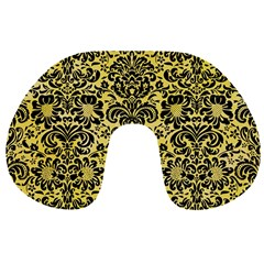 Damask2 Black Marble & Yellow Watercolor Travel Neck Pillows by trendistuff