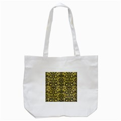 Damask2 Black Marble & Yellow Watercolor Tote Bag (white) by trendistuff