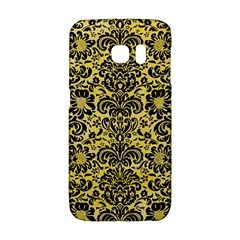Damask2 Black Marble & Yellow Watercolor Galaxy S6 Edge by trendistuff