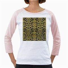 Damask2 Black Marble & Yellow Watercolor (r) Girly Raglans by trendistuff
