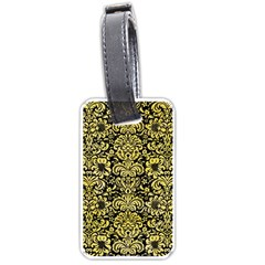 Damask2 Black Marble & Yellow Watercolor (r) Luggage Tags (two Sides) by trendistuff