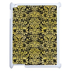 Damask2 Black Marble & Yellow Watercolor (r) Apple Ipad 2 Case (white) by trendistuff