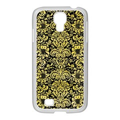 Damask2 Black Marble & Yellow Watercolor (r) Samsung Galaxy S4 I9500/ I9505 Case (white) by trendistuff