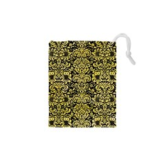 Damask2 Black Marble & Yellow Watercolor (r) Drawstring Pouches (xs)  by trendistuff
