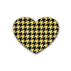 Houndstooth1 Black Marble & Yellow Watercolor Rubber Coaster (heart)  by trendistuff