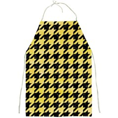 Houndstooth1 Black Marble & Yellow Watercolor Full Print Aprons by trendistuff
