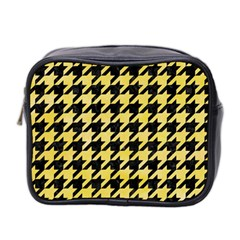 Houndstooth1 Black Marble & Yellow Watercolor Mini Toiletries Bag 2 Side by trendistuff