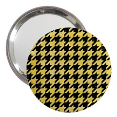 Houndstooth1 Black Marble & Yellow Watercolor 3  Handbag Mirrors by trendistuff
