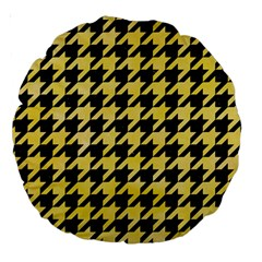 Houndstooth1 Black Marble & Yellow Watercolor Large 18  Premium Round Cushions by trendistuff