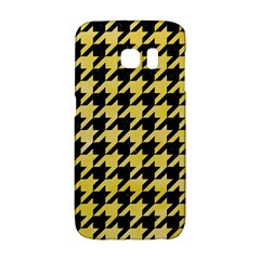 Houndstooth1 Black Marble & Yellow Watercolor Galaxy S6 Edge by trendistuff